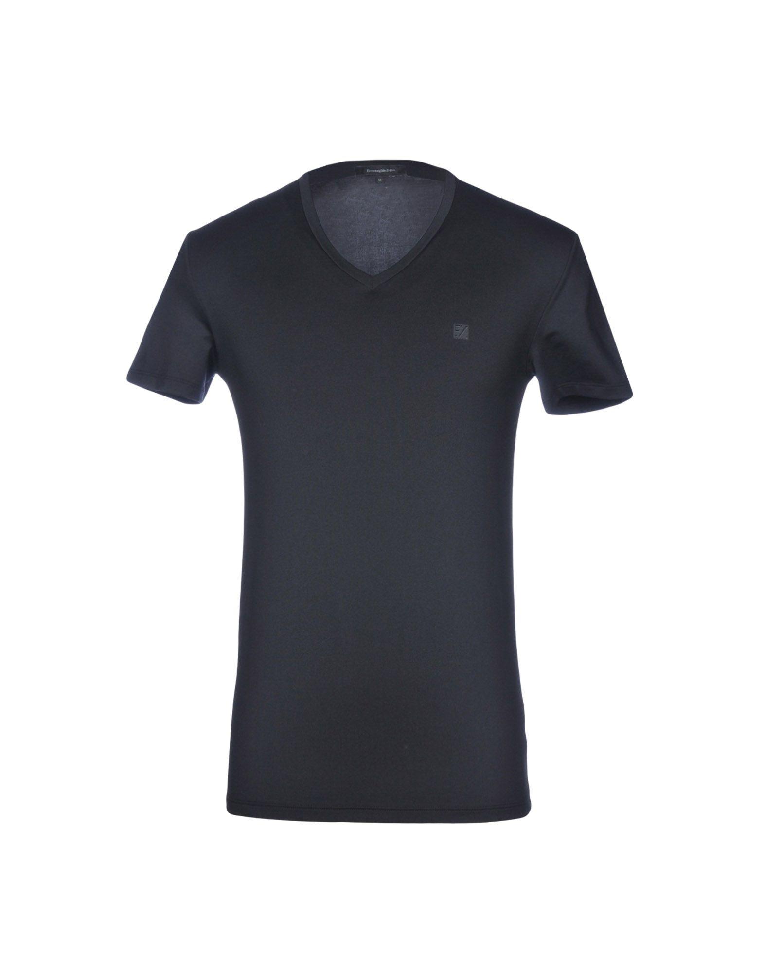 《送料無料》ERMENEGILDO ZEGNA メンズ アンダーTシャツ ブラック S コットン 56% / ポリエステル 34% / ポリウレタン 10%