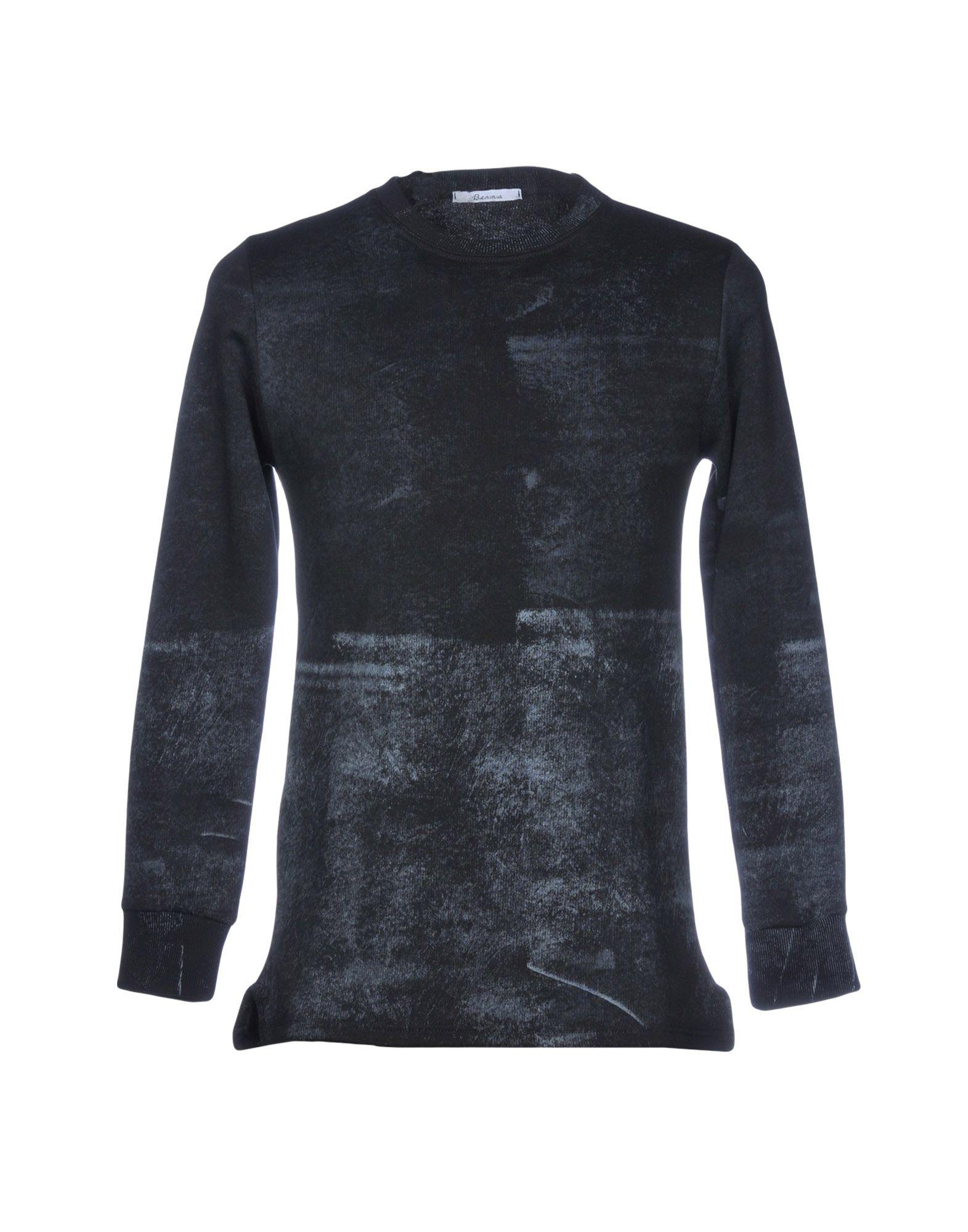 《セール開催中》BERNA メンズ スウェットシャツ ブラック S コットン 100%