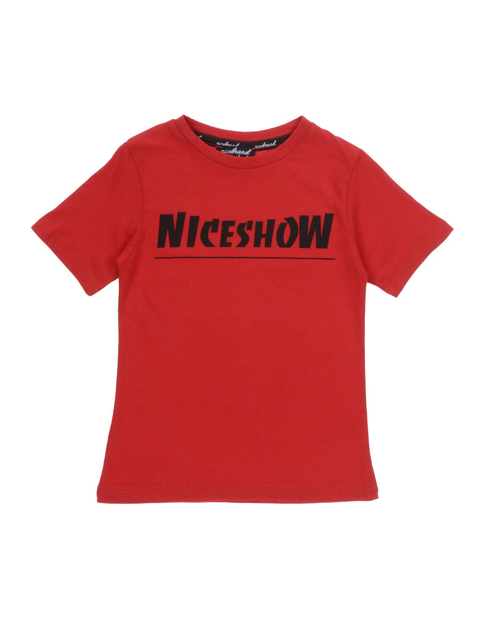《セール開催中》NICEBRAND ボーイズ 3-8 歳 T シャツ レッド 4 コットン 100%