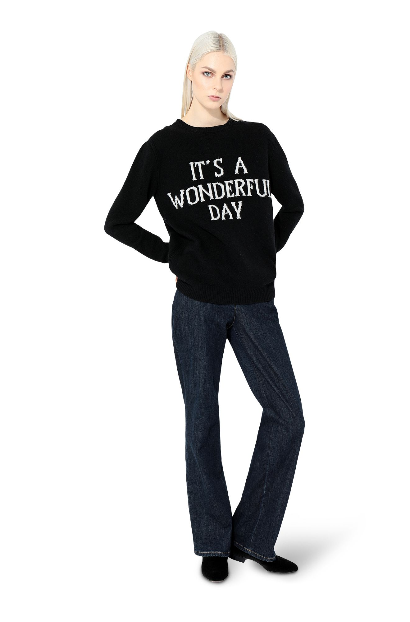 Sweater with  It's A Wonderful Day intarsia