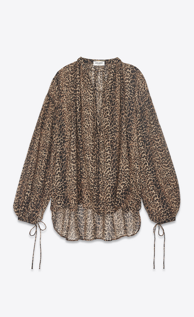 SAINT LAURENT Tops and Blouses Woman peasant blouse in leopard print a_V4