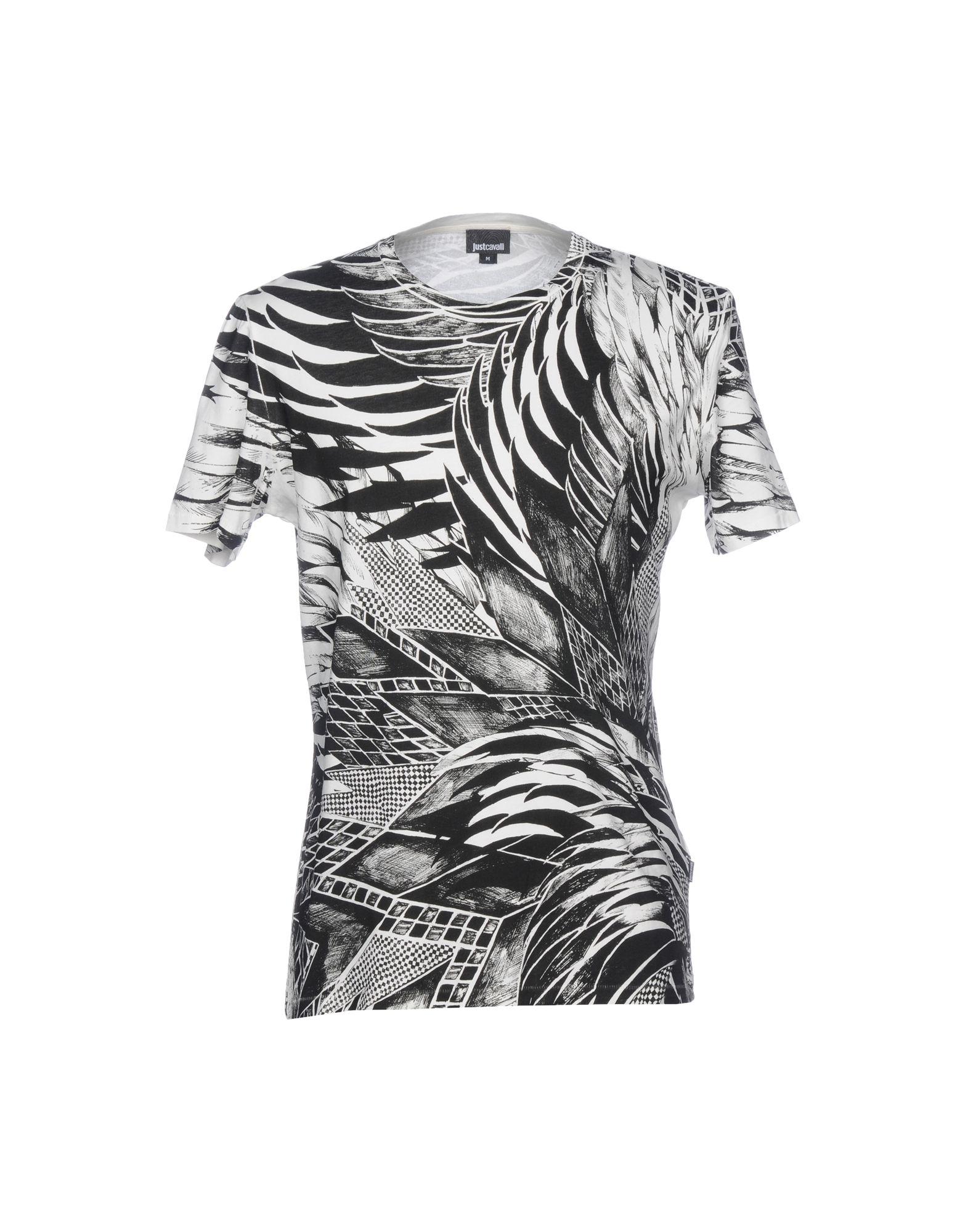 《送料無料》JUST CAVALLI メンズ T シャツ ブラック L コットン 100%