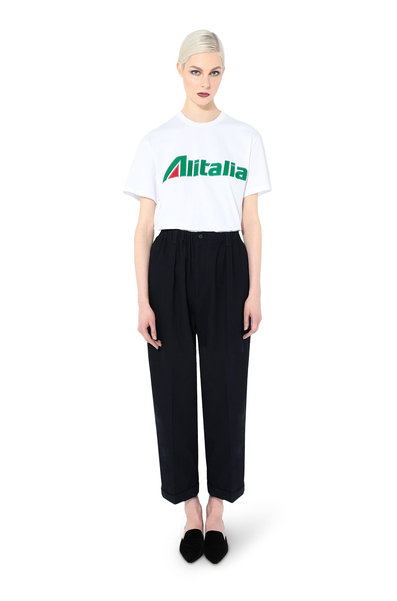T-shirt embroidered with Alitalia logo