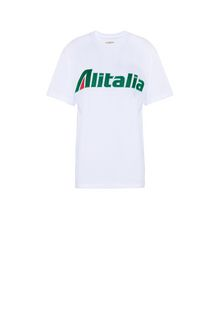 ALBERTA FERRETTI T-shirt ricamata con logo Alitalia T-shirt Donna e