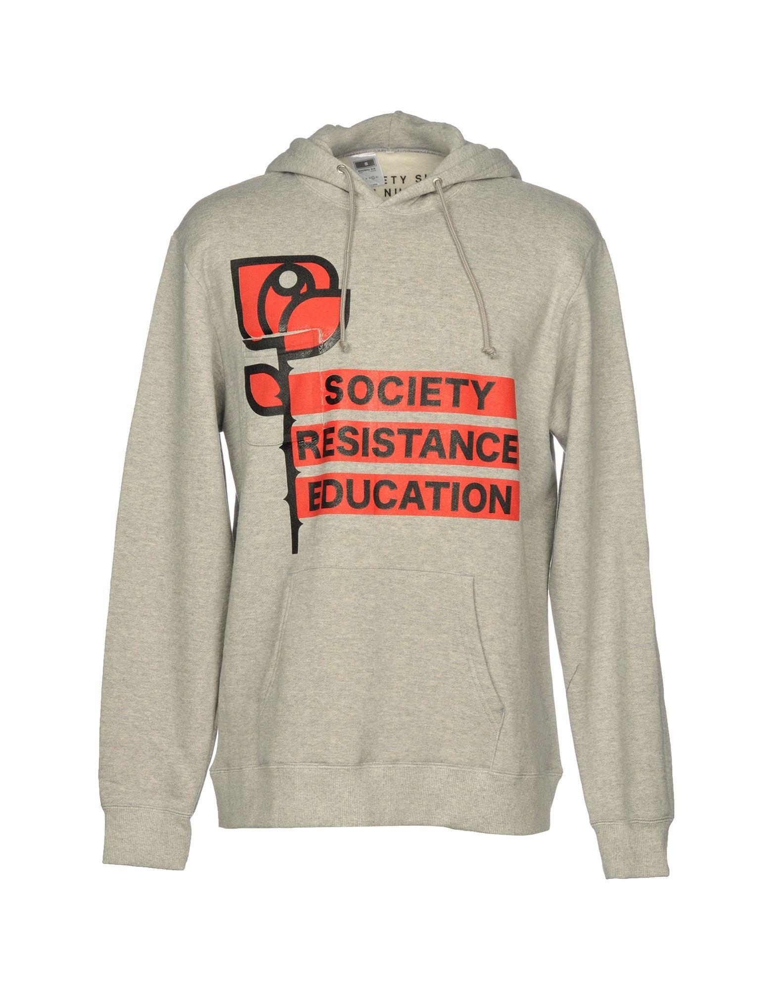 SOCIETY Hooded Sweatshirt in Light Grey