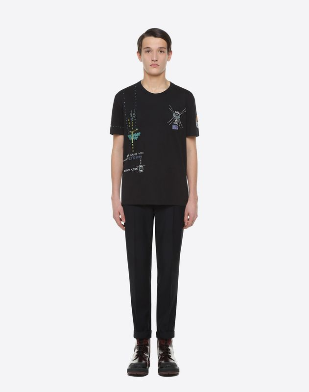 "T-Shirt, bestickt mit ""Videogames Arcade"" Muster"
