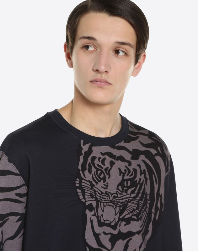 CREW-NECK COTTON SWEATSHRT WITH TIGER PRINT