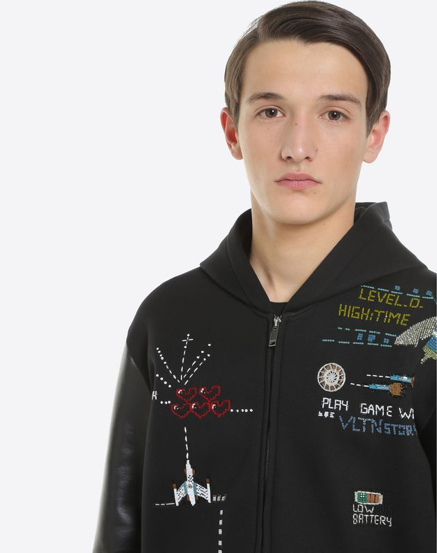 Hooded sweatshirt with Arcade Videogame embellishments