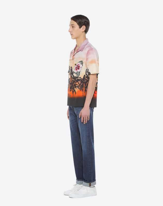 Bowling shirt with floral print and patch detail