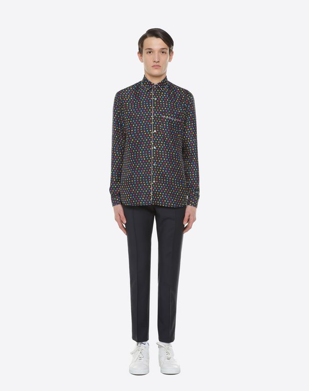 Star-print silk shirt