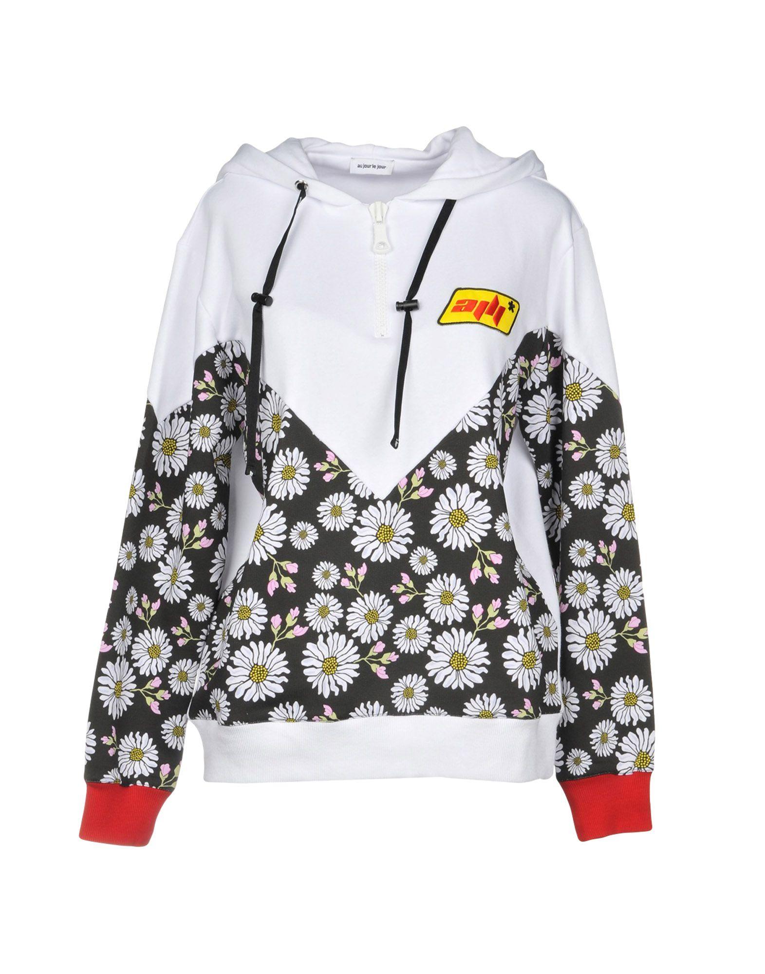 AU JOUR LE JOUR Hooded Sweatshirt in White