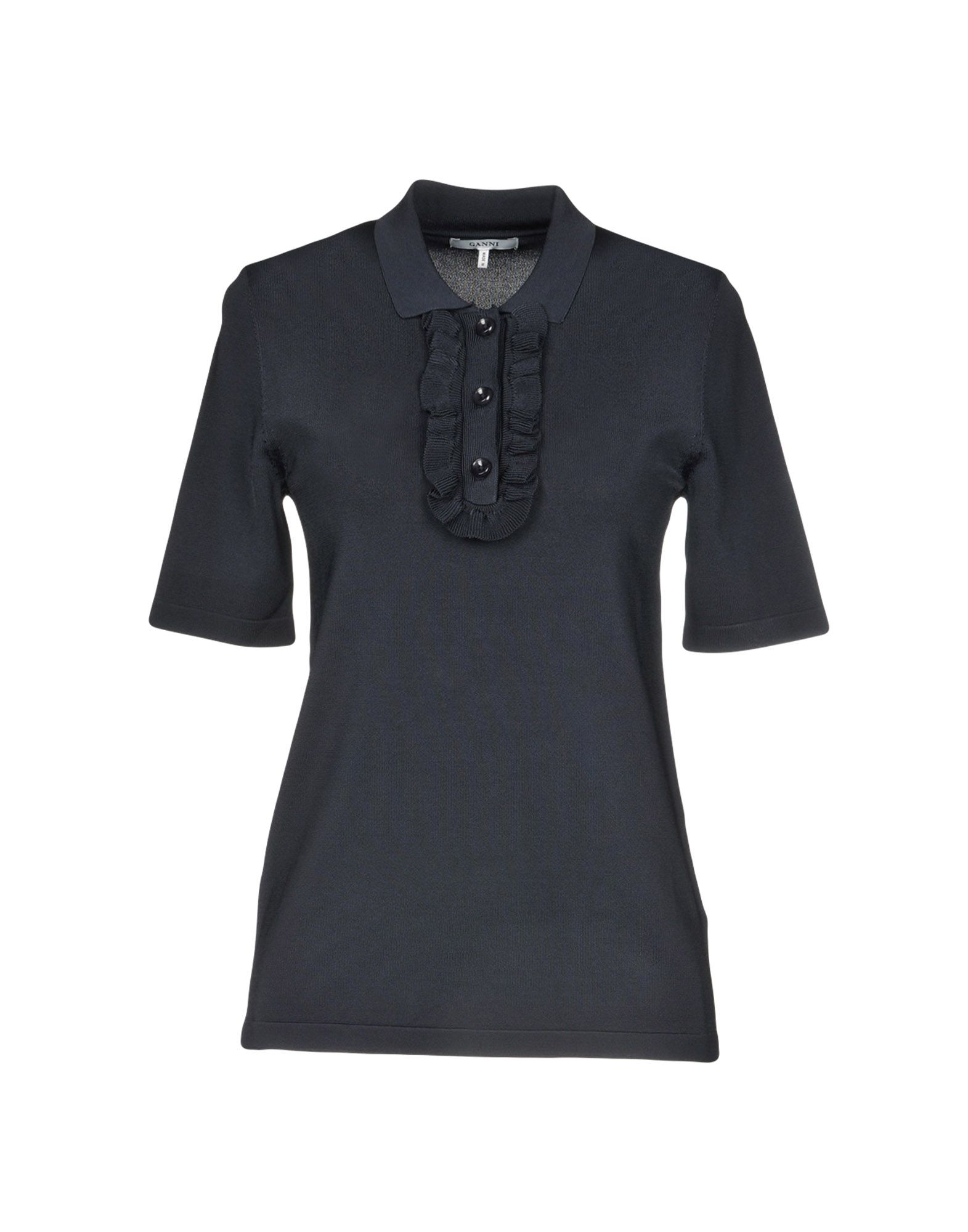 GANNI Polo shirts. Jersey Ruffles Basic solid color Polo collar Short sleeves Front closure Button closing No pockets Small sized. 69% Viscose, 31% Polyamide