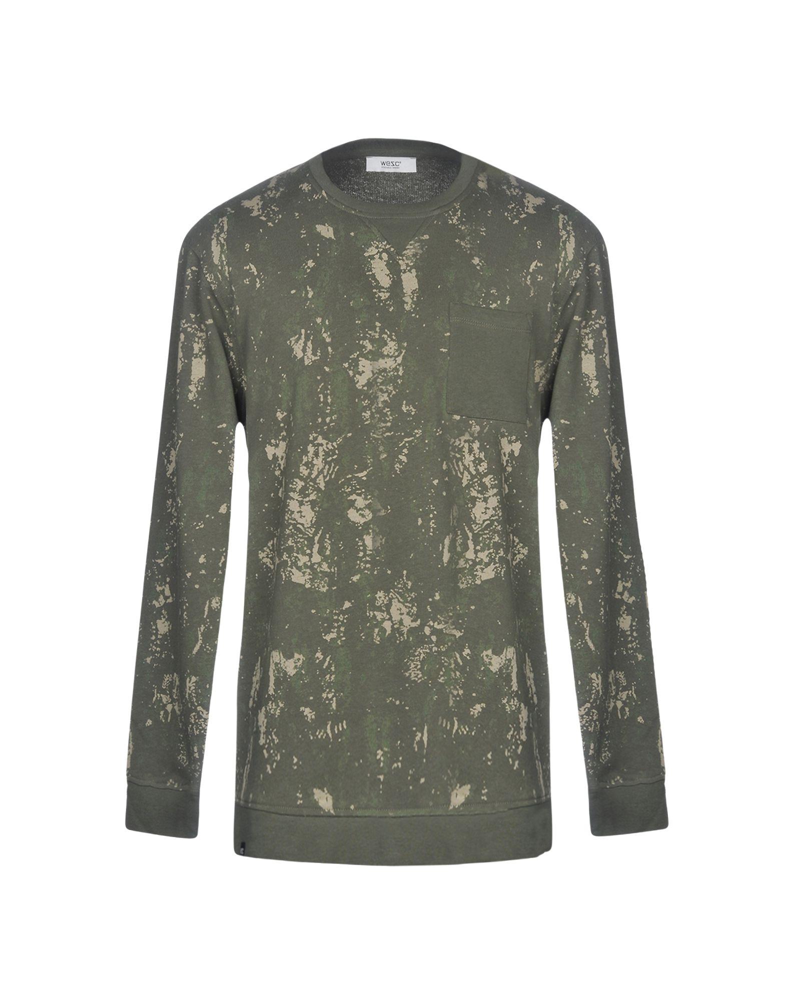 《2万円以上オーダーで送料無料》WESC メンズ スウェットシャツ ミリタリーグリーン L コットン 100%