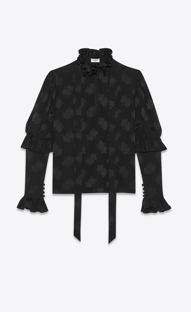 SAINT LAURENT Tops and Blouses Woman Ruffled blouse in silk jacquard a_V4
