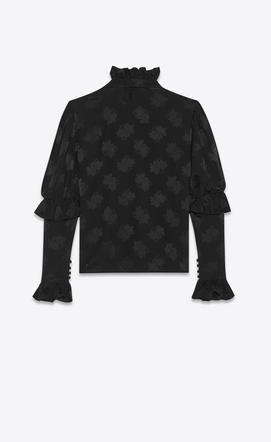 SAINT LAURENT Tops and Blouses Woman Ruffled blouse in silk jacquard b_V4