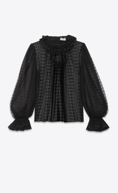 SAINT LAURENT Tops and Blouses Woman YSL plumetis tulle ruffle blouse a_V4