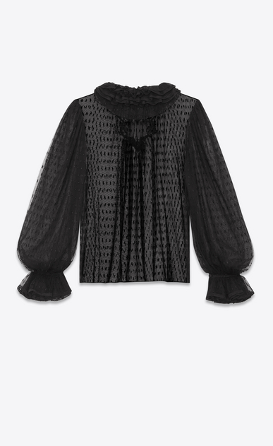 SAINT LAURENT Tops and Blouses Woman YSL plumetis tulle ruffle blouse b_V4