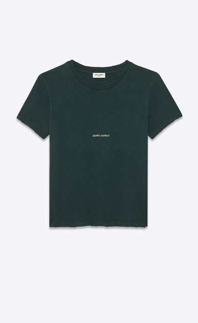 T-Shirt mit dunkelgrünem Saint Laurent-Quadrat