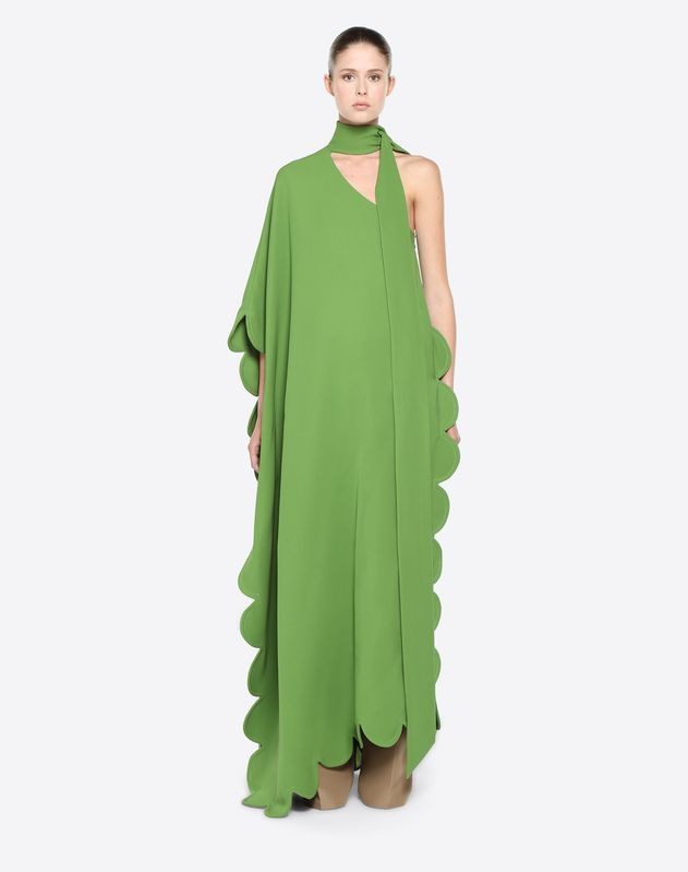 Scalloped Silk Compensine Maxi Top