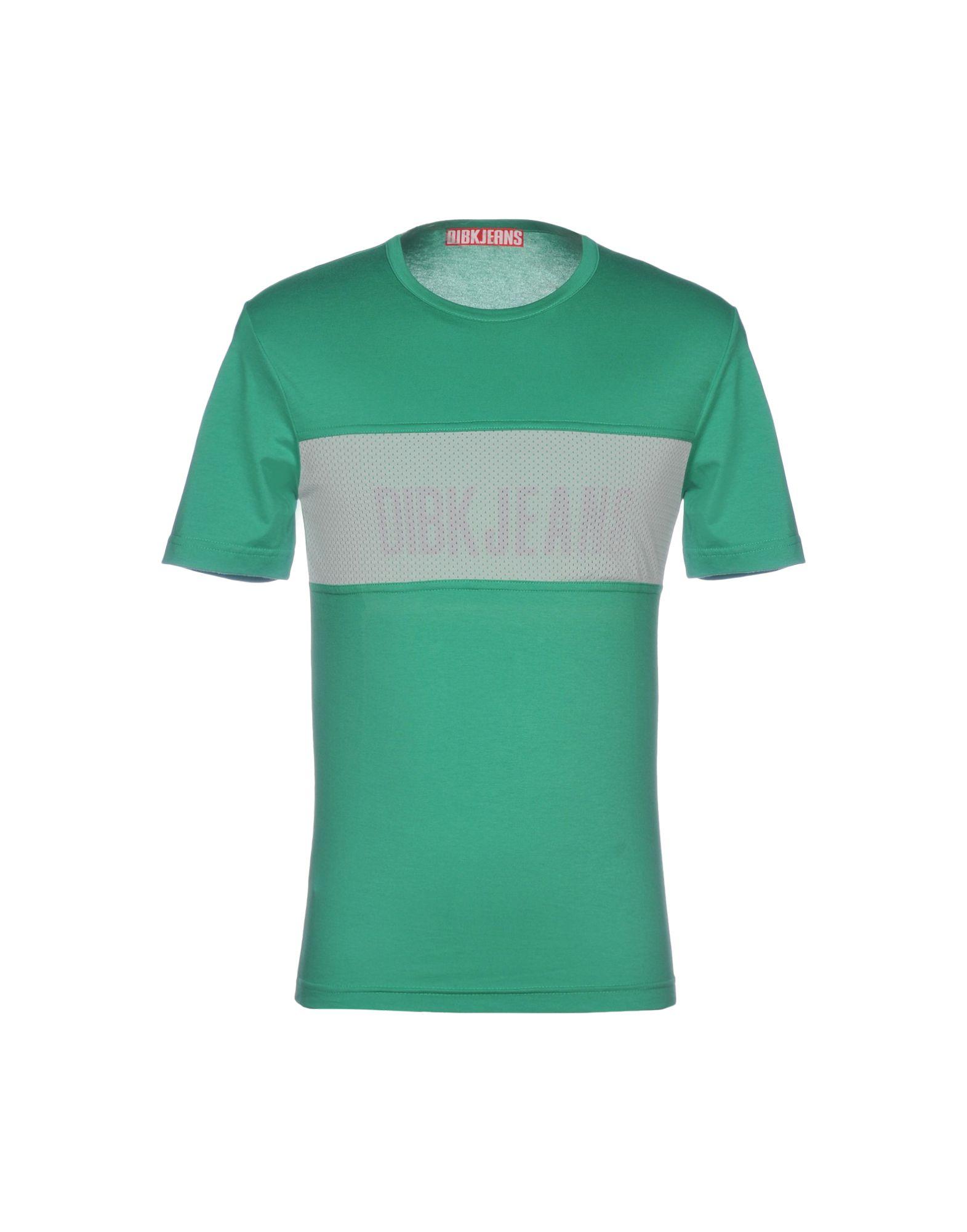 《セール開催中》DIBK JEANS メンズ T シャツ グリーン L コットン 96% / ポリウレタン 4%