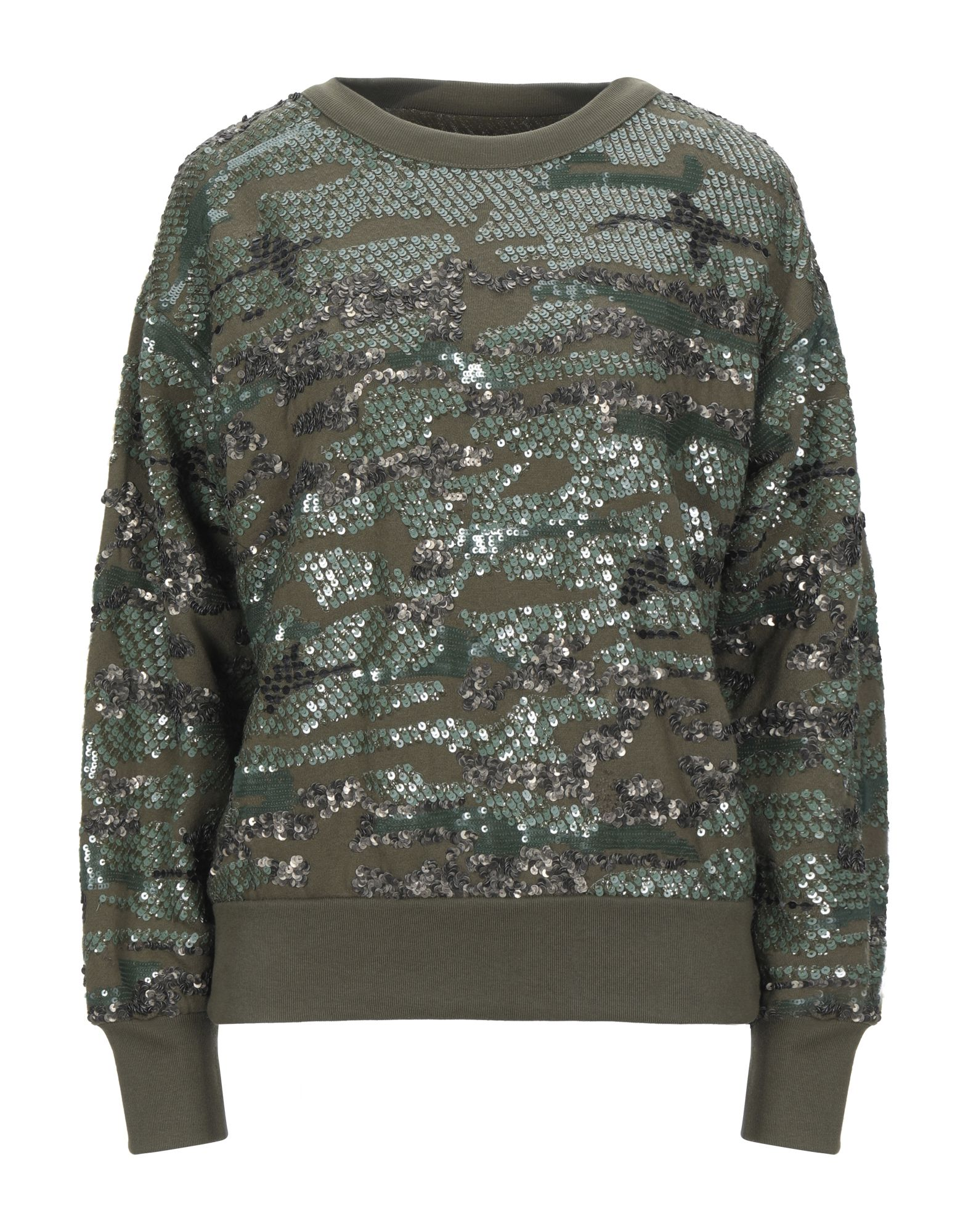 ISABEL MARANT Sweatshirts. sequined, basic solid color, round collar, long sleeves, no pockets. 62% Cotton, 38% Polyester