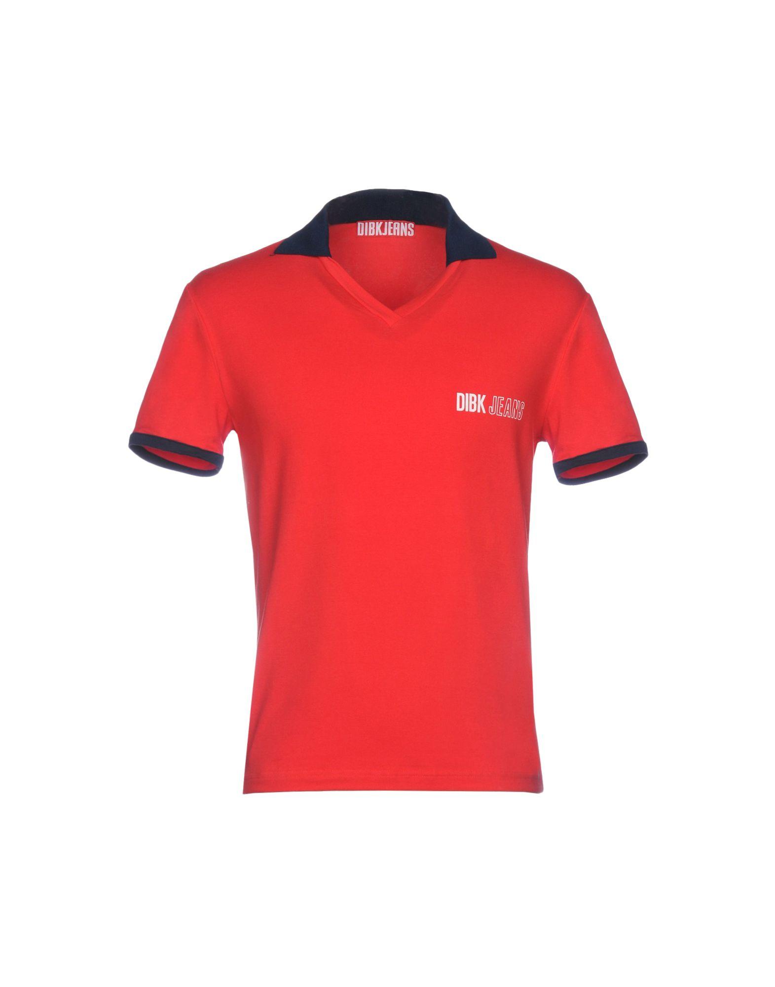 《期間限定 セール開催中》DIBK JEANS メンズ ポロシャツ レッド L 90% コットン 10% ポリウレタン