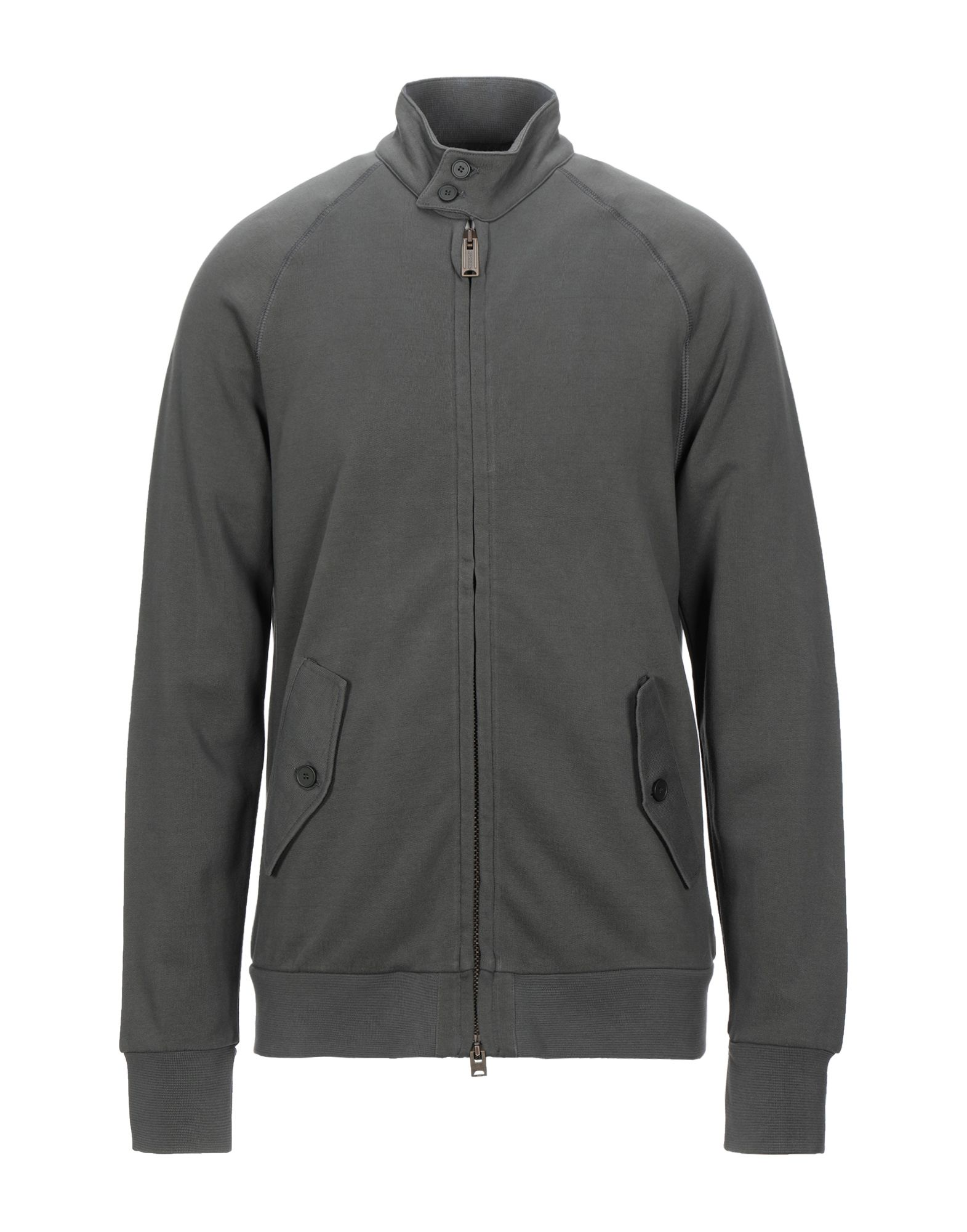 DONDUP Sweatshirts. Logo Basic solid color Mandarin collar Long sleeves Front closure Zip Multipockets Fleece lining. Textile fibers