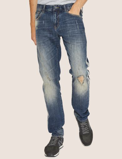 SLIM-FIT SHREDDED OUTSEAM INDIGO JEAN