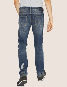 ARMANI EXCHANGE SLIM-FIT SHREDDED OUTSEAM INDIGO JEAN Slim fit JEANS Man e