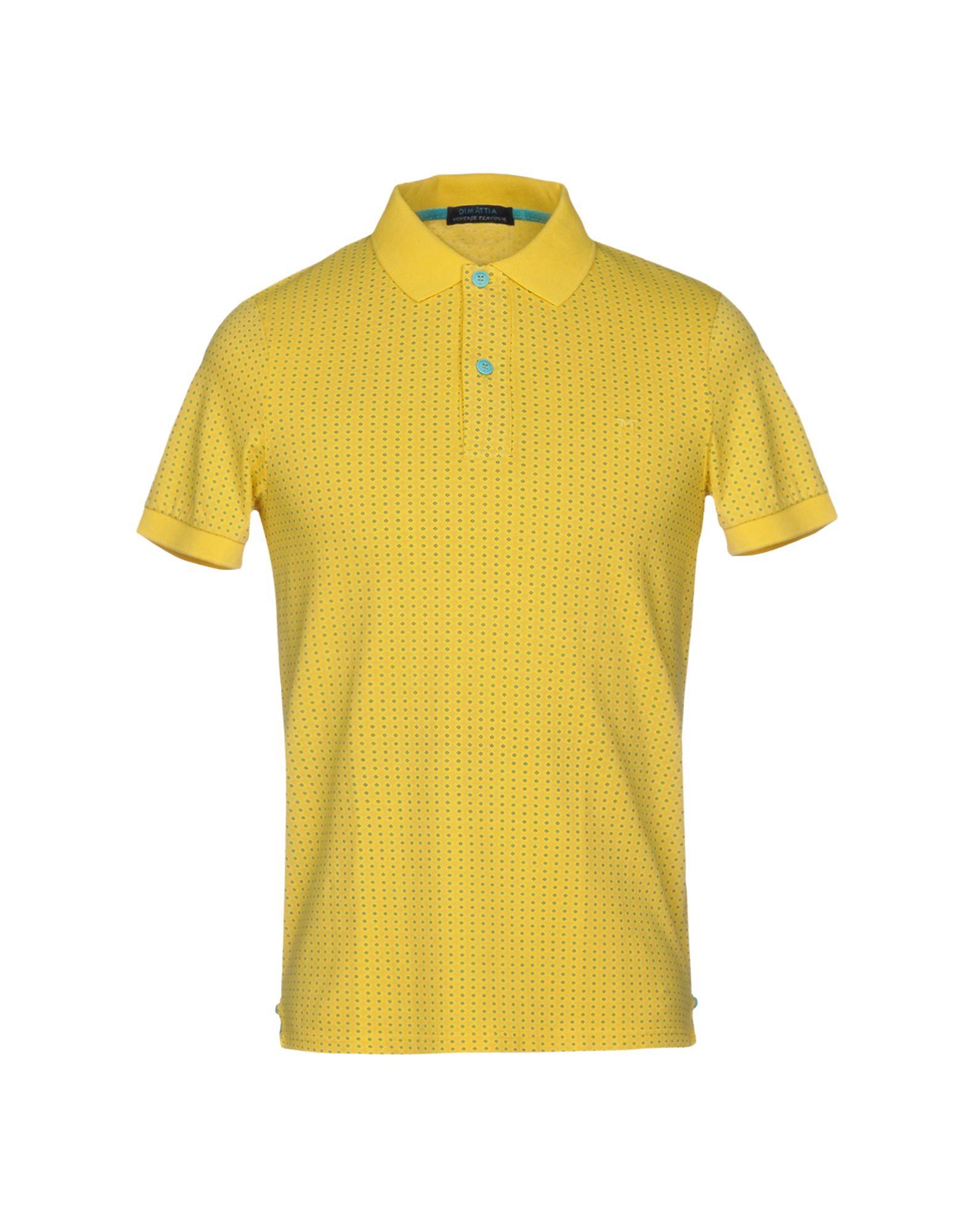《セール開催中》DIMATTIA メンズ ポロシャツ イエロー XS コットン 95% / ポリウレタン 5%