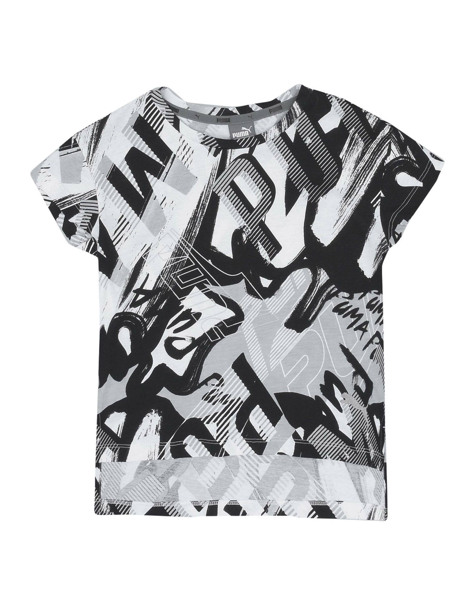 《セール開催中》PUMA ガールズ 3-8 歳 T シャツ ブラック 5 コットン 100% Style AOP Tee