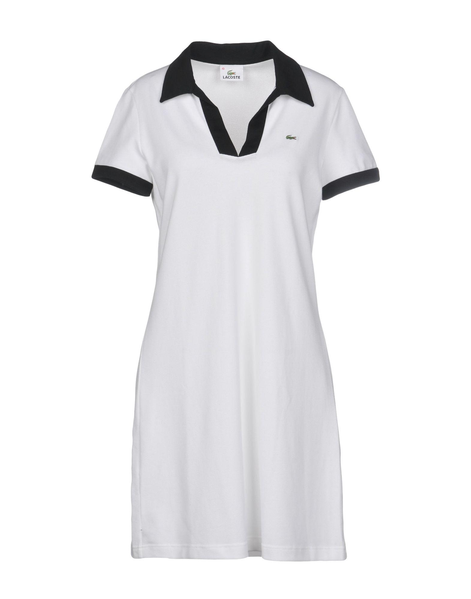《送料無料》LACOSTE レディース ミニワンピース&ドレス ホワイト 40 コットン 94% / ポリウレタン 6%