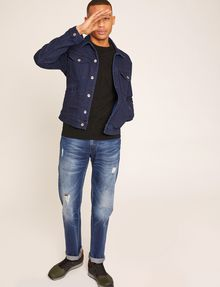 ARMANI EXCHANGE STRAIGHT-FIT MID-INDIGO JEAN WITH DISTRESSING STRAIGHT FIT JEANS Man a