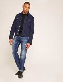 ARMANI EXCHANGE STRAIGHT-FIT MID-INDIGO JEAN WITH DISTRESSING STRAIGHT FIT JEANS Man d