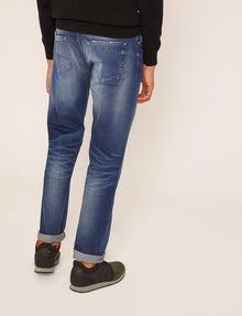ARMANI EXCHANGE STRAIGHT-FIT MID-INDIGO JEAN WITH DISTRESSING STRAIGHT FIT JEANS Man e