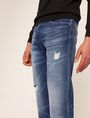 ARMANI EXCHANGE STRAIGHT-FIT MID-INDIGO JEAN WITH DISTRESSING STRAIGHT FIT JEANS Man b