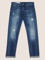 ARMANI EXCHANGE STRAIGHT-FIT MID-INDIGO JEAN WITH DISTRESSING STRAIGHT FIT JEANS Man r