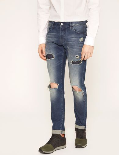 SKINNY-FIT SHREDDED KNEE PATCH JEAN