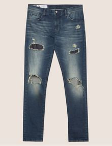 ARMANI EXCHANGE SKINNY-FIT SHREDDED KNEE PATCH JEAN Skinny jeans Man r