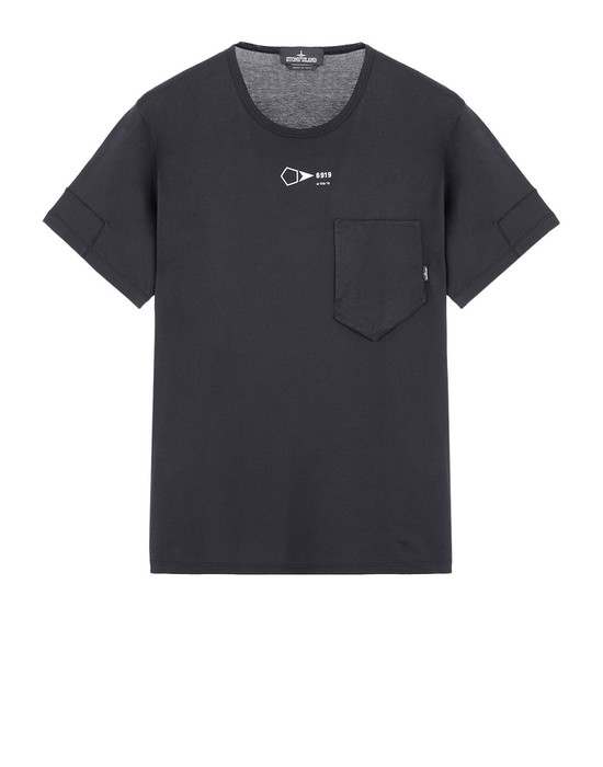STONE ISLAND SHADOW PROJECT T-SHIRT A MANICHE CORTE 20110 PRINTED SS CATCH POCKET-T (JERSEY MAKO) TINTA IN CAPO