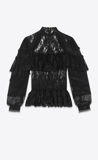 SAINT LAURENT Tops and Blouses Woman lace embroidered blouse a_V4