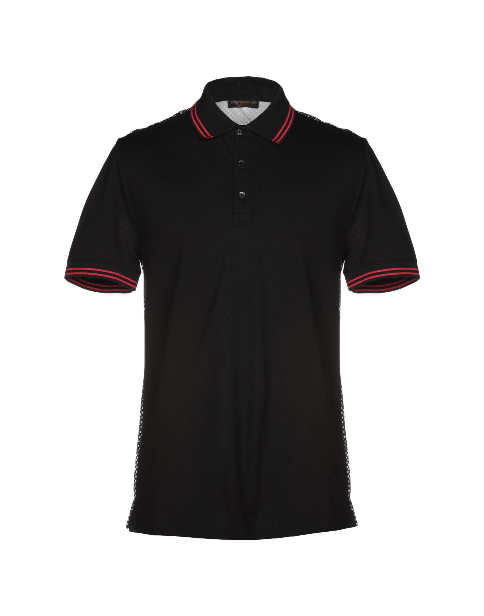 《送料無料》ROBERTO CAVALLI GYM メンズ ポロシャツ ブラック S コットン 100%