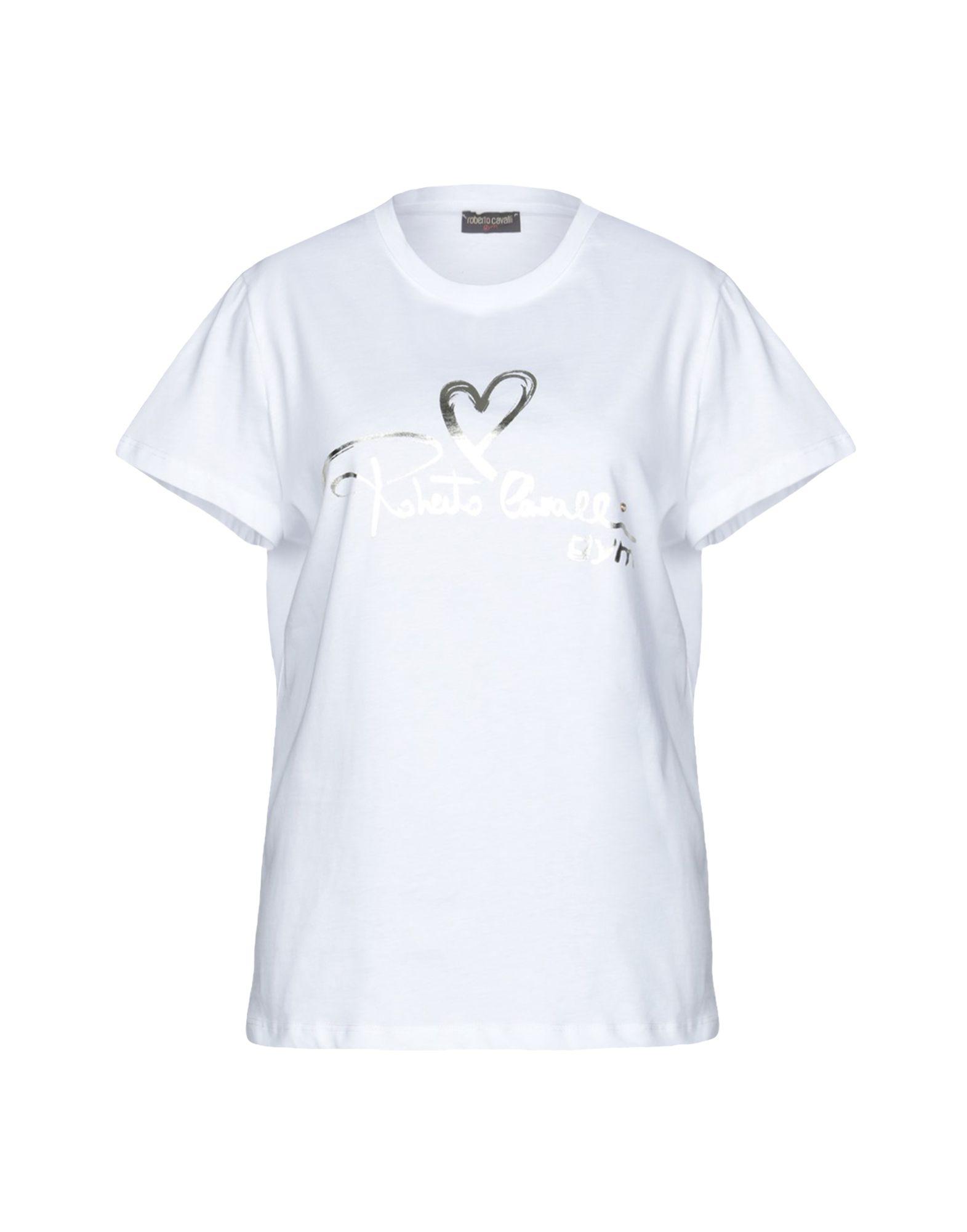 《送料無料》ROBERTO CAVALLI GYM レディース T シャツ ホワイト XS コットン 100%