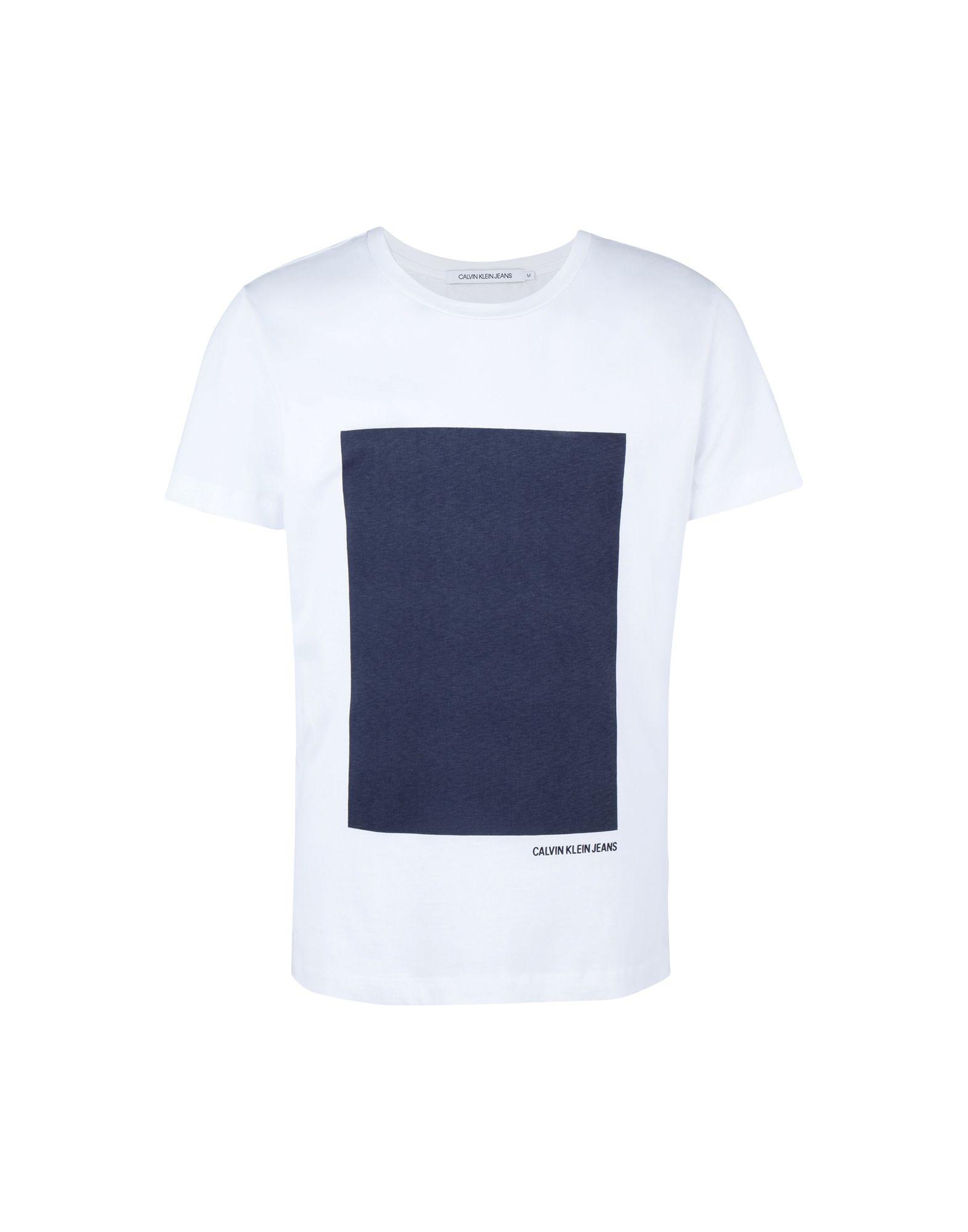 《送料無料》CALVIN KLEIN JEANS メンズ T シャツ ホワイト S コットン 100% RECTANGLE GRAPHIC SL