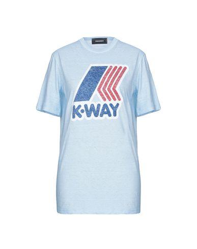 Фото - Женскую футболку DSQUARED2 x K-WAY небесно-голубого цвета