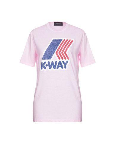 Фото - Женскую футболку DSQUARED2 x K-WAY розового цвета