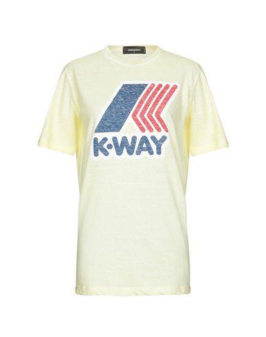 Фото - Женскую футболку DSQUARED2 x K-WAY желтого цвета