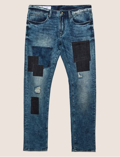 SLIM-FIT RIPPED AND REPAIRED INDIGO JEAN