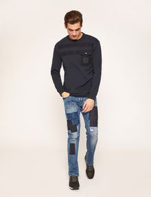 ARMANI EXCHANGE SLIM-FIT RIPPED AND REPAIRED INDIGO JEAN Slim fit JEANS [*** pickupInStoreShippingNotGuaranteed_info ***] d