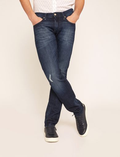 J13 SLIM-FIT DARK DESTROYED JEAN